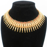 gold finish necklace set with traditional kerala pattern