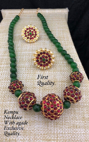 Handmade agate set with kemp beads