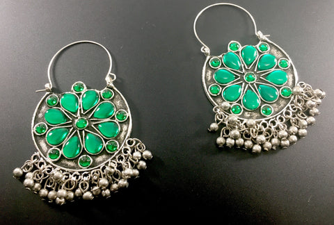 afghani tribal chandbali hoop earrings