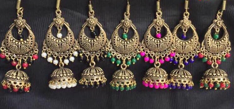 Antique oxidized chandbali with jhumkas