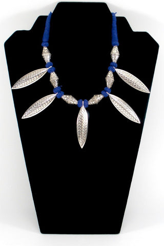 oxidized tribal necklace in blue ethnic thread