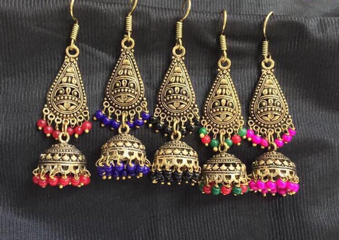 antique oxidized paan shaped earrings with jhumkas