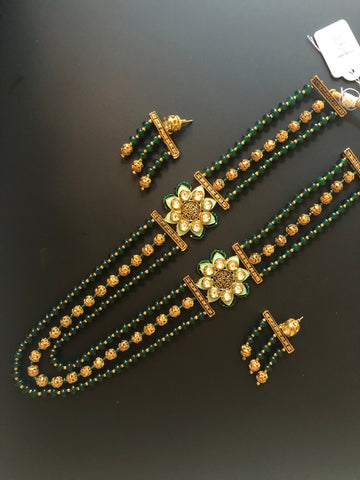 Double side pendant long necklace set with green and gold beads