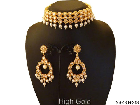 grand gold choker with white stones