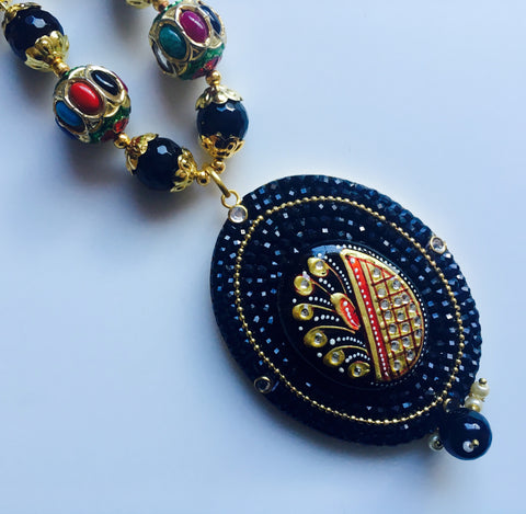 grand handmade set with oval tanjore pendant