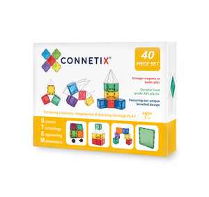 Connetix Magnetic Tiles, 40 Piece Expansion Pack, One Country Mouse Kids Yamba