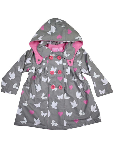 korango Rainwear Birds n Butterflies | Colour Changing Raincoat | Grey