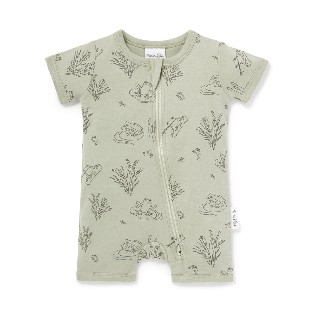 Aster & Oak Frog Pond Short Zip Romper - Sage One Country Mouse Kids