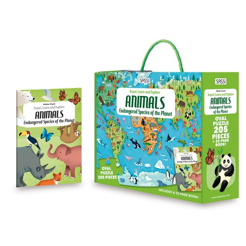 Sassi Travel, Learn and Explore - Puzzle and Book Set - Endangered Species of the Planet, 205 pcs