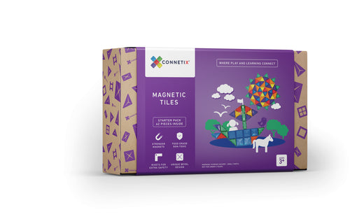 Connetix Magnetic Tiles, 62 Piece Starter Pack, One Country Mouse Kids Yamba