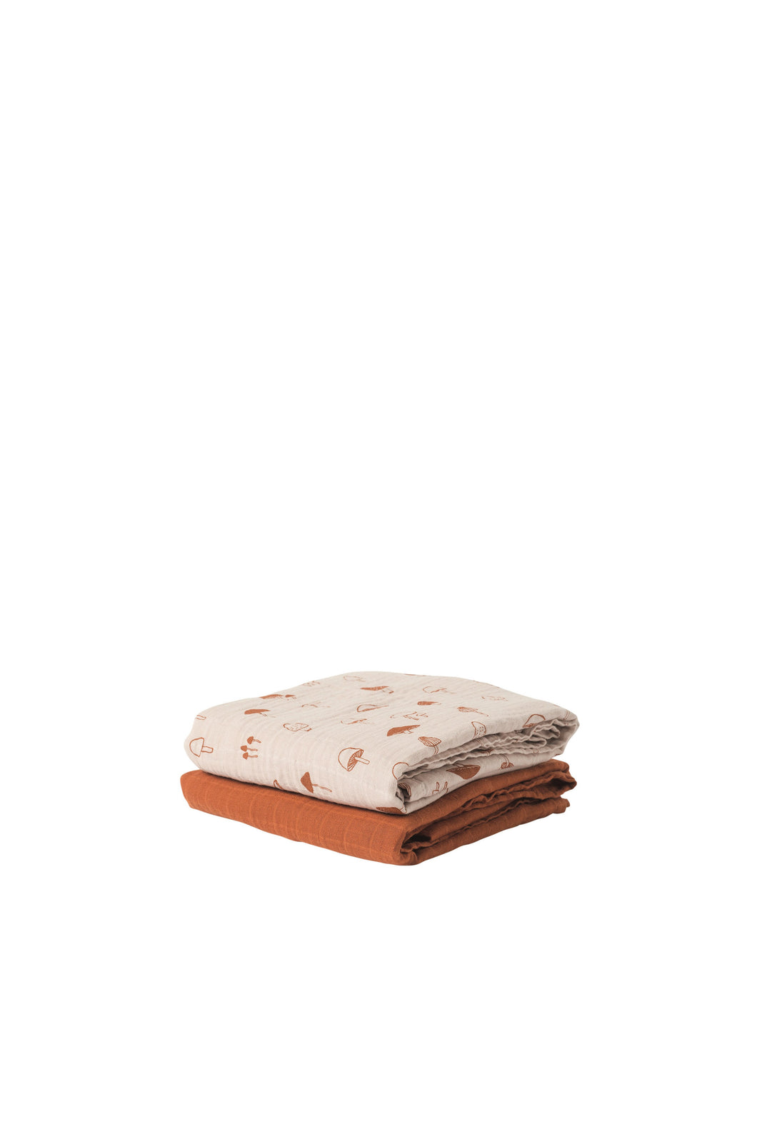Mushroom Organic Cotton Muslin Wrap Assorted Set of 2_Chestnut and Nougat