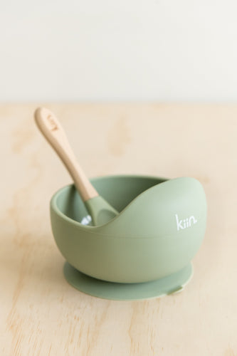 Kiin. Kiinbaby, Kiin silicone bowl + spoon - sage, One Country Mouse Kids, Yamba NSW, Yamba Baby, Yamba Kids