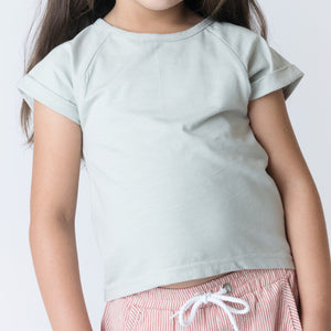 Love Henry Girls Split Back Tee - Moss Green