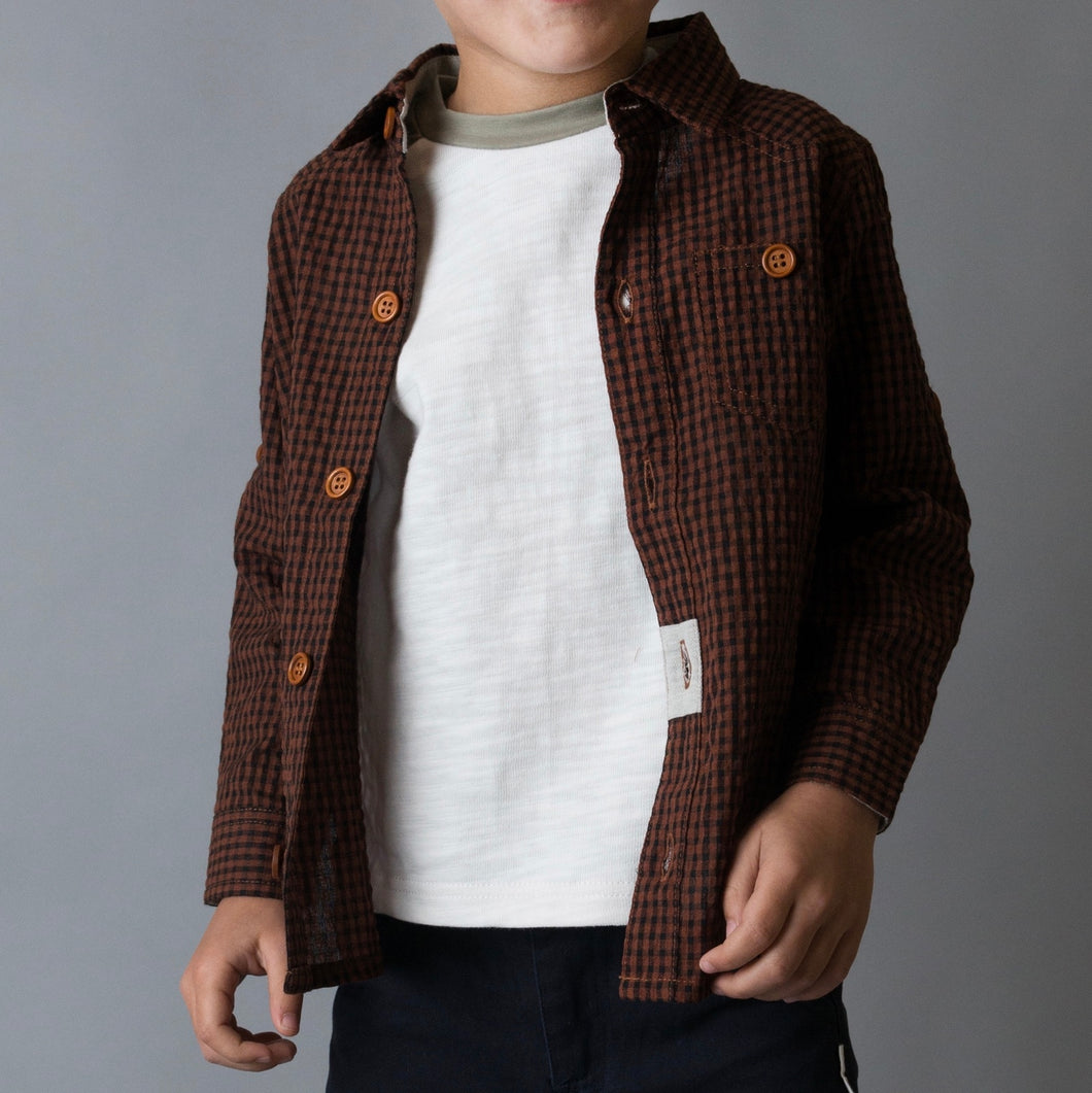 Boys Large Love Henry Gingham Check Shirt Flanny - Brown Gingham