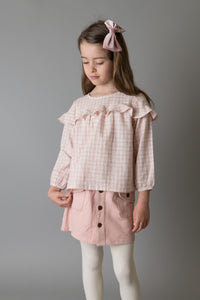 Love Henry Girls Frill Bodice Blouse - Pink Check
