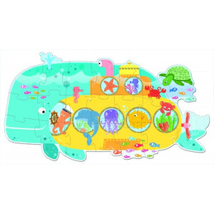 Sassi Travel Giant Puzzle and Book - Animals On a Submarine