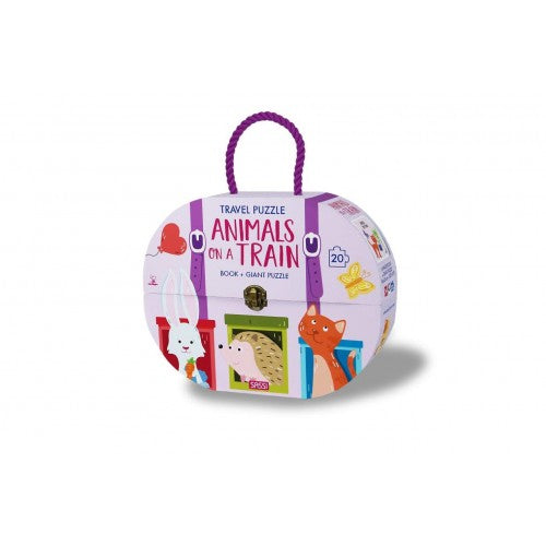 Sassi Travel Giant Puzzle and Book - Animals on a Train