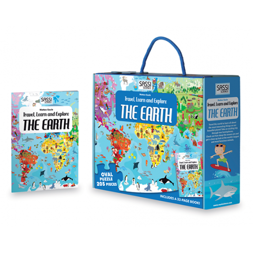 Sassi Travel, Learn and Explore - Puzzle and Book Set - The Earth