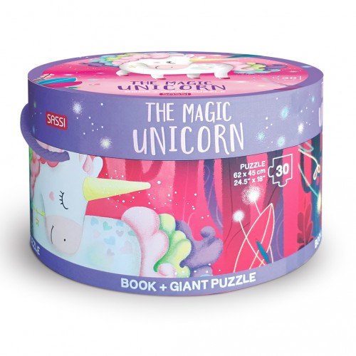 Sassi Book and Giant Puzzle - The Magic Unicorn 30 pcs