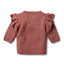 Load image into Gallery viewer, Wilson & Frenchy Chilli Marle Knitted Ruffle Jumper.jpg