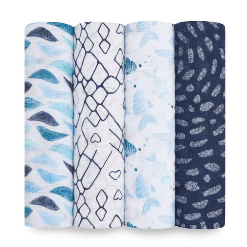 aden + anais gone fishing classic muslin 4-pack swaddles
