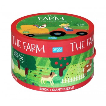 Sassi Book and Giant Puzzle - The Farm, 30 pcs