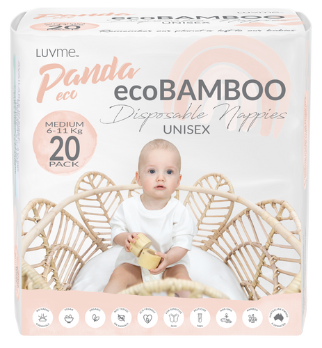 Panda Eco Nappies by Luvme | Medium (6-11kg) | Mini 20 PACK One country Mouse Kids