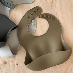 rommer co Silicone baby bib Olive