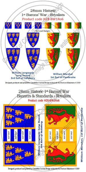 William Longespée 'Long Sword' & William Marshal, Banners + Decals