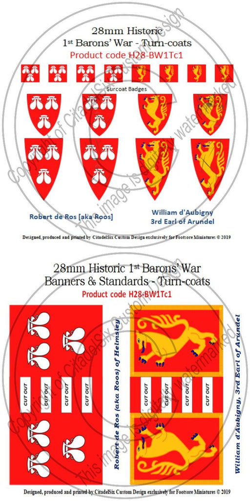 Robert de Ros (aka Roos) & William d'Aubigny, Banners + Decals