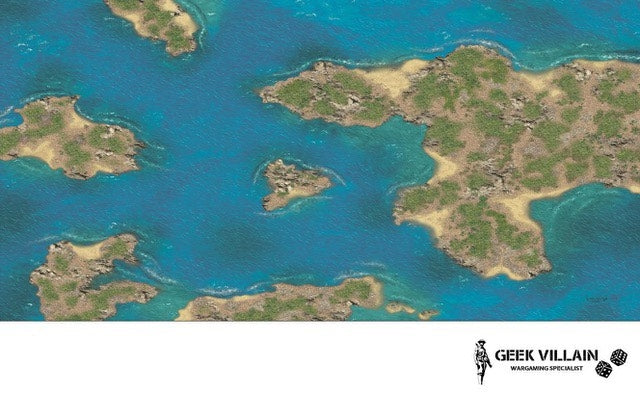 Geek Villain Wargaming Battle Mat 6x4 Caribbean Islands