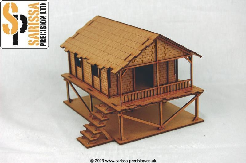 28mm Modern Woven Palm-Style Village House