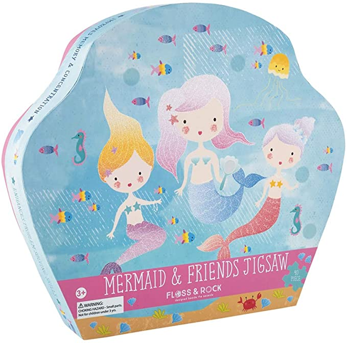 40 Pc Jigsaw Puzzle in Shaped Box- Mermaid & Friends
