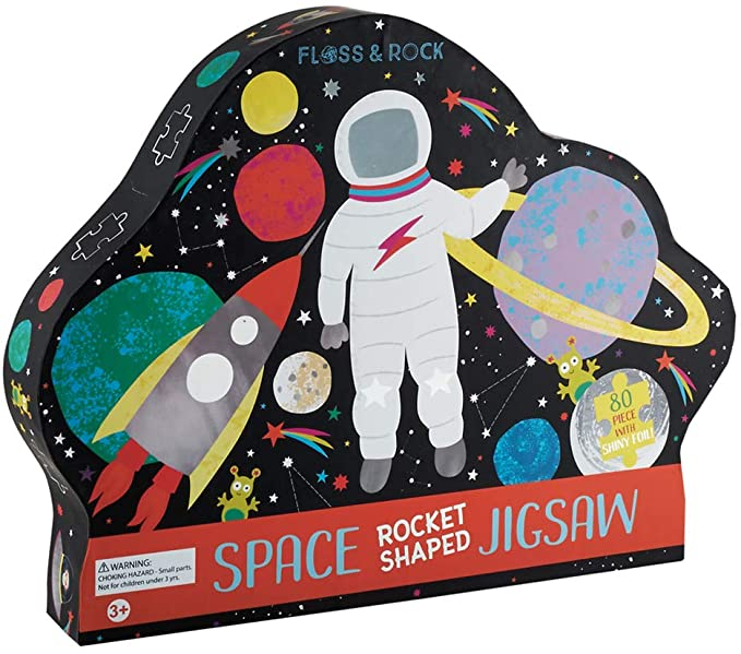 80 Pc Rocket Shaped Foiled Jigsaw Puzzle Space