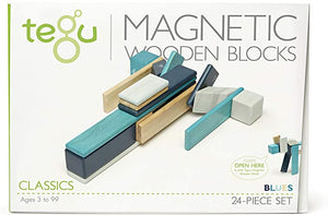 24-Piece Magnetic Wooden Block Set Blues