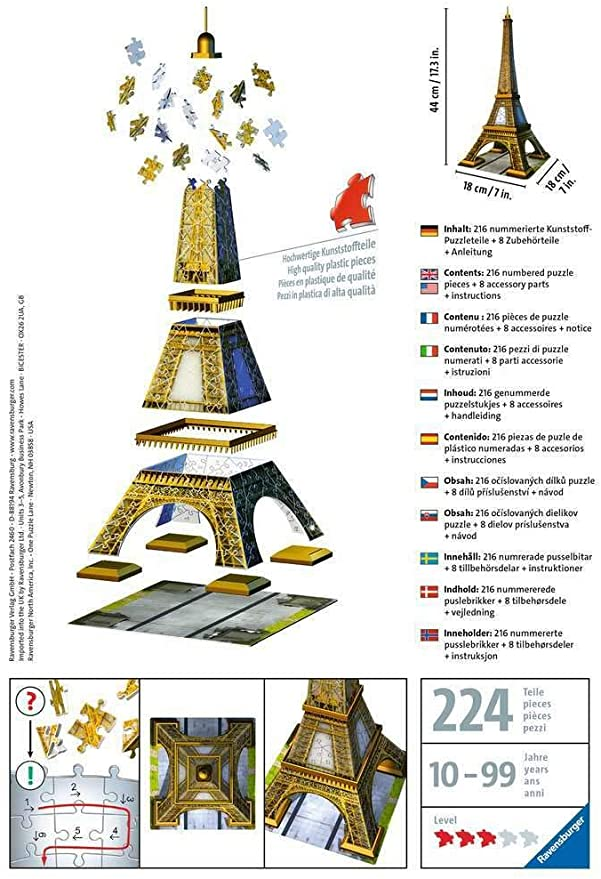 Eiffel Tower- 216pc 3D Jigsaw Puzzle