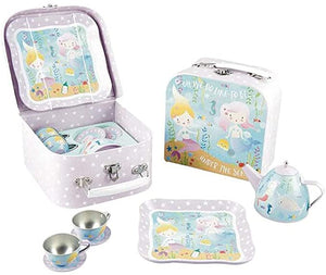 Mermaid 7 pc Tin Tea Set in Case