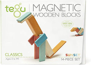 14 Piece Magnetic Wooden Block Set Sunset
