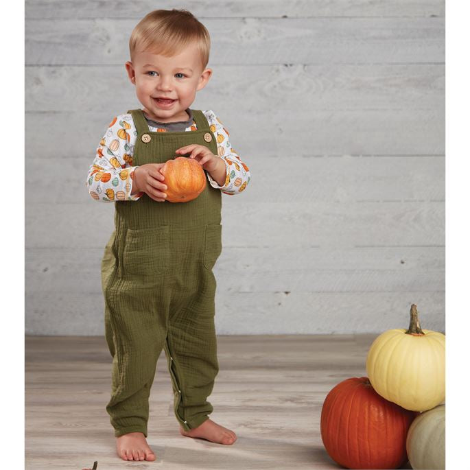 Olive Overalls with Pumpkin Tee