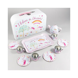 15-Piece Play Tin Tea SetIn Carrying Case- Unicorn