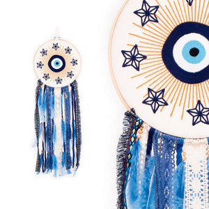 Blue Star Stitched Dreamcatcher 9""