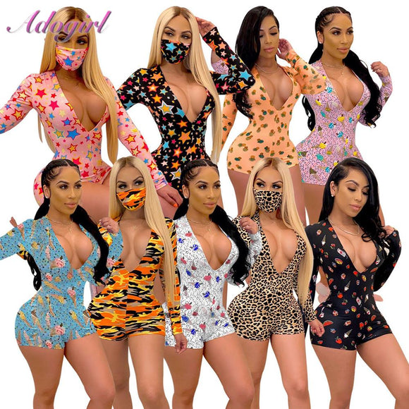 Women Onesies Pajamas Sexy Colorful Print V Neck