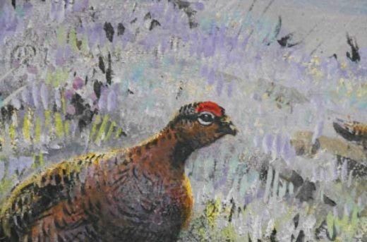 'Grouse on Hill' Signed Original Guache Painting by George Lodge - 27.5cm x 42.5cm