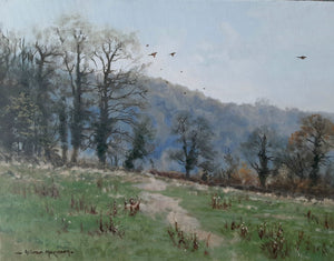 'Downland Shoot' - Original Oil Painting by Alistair Makinson - 30 x 40cm