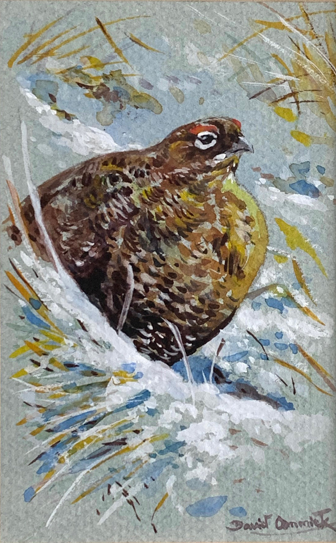 'Grouse in the snow' - Original Watercolour by David Cemmick - 13 x 8cm