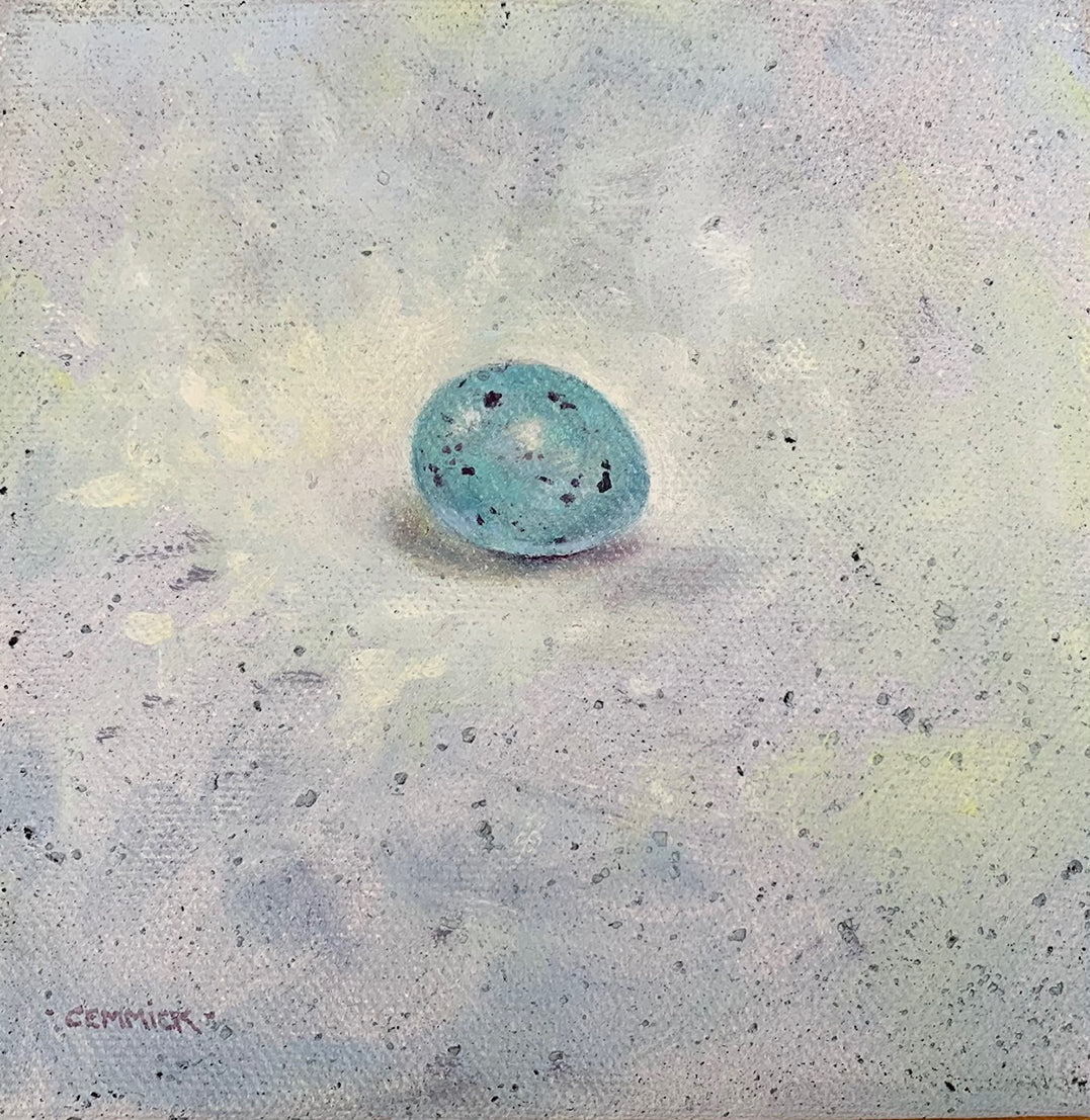 'The Thrush's Egg' - Original Oil on Canvas by David Cemmick - 13 x 13cm