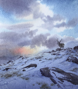 'Snow on High Ground' - Original Watercolour Painting by Owen Williams - 16 x 14cm