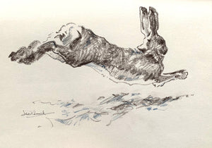 'Full Pelt' - Original Conte Drawing by David Cemmick - 20 x 30cm