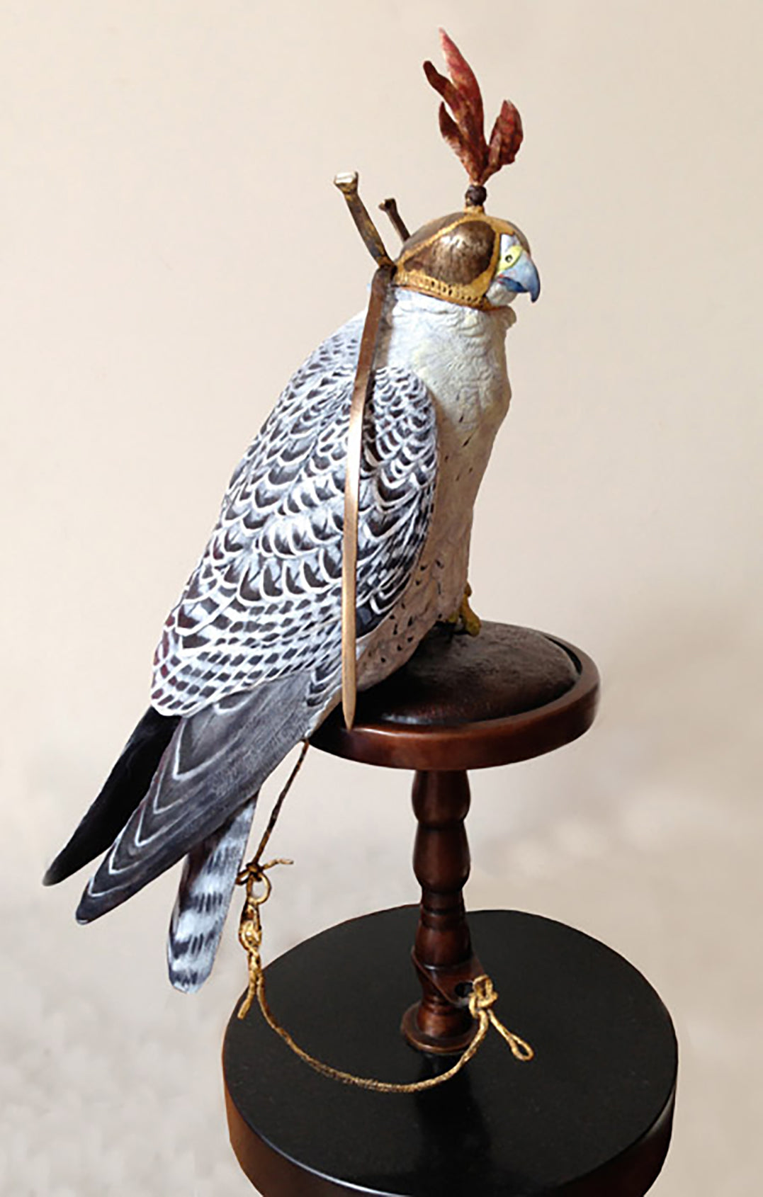 'Gyr Falcon' - Hand Painted Bronze Limited Edition Sculpture by David Cemmick