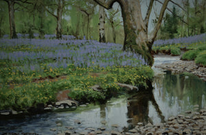 'Bluebell Wood' - Original Oil Painting by Alistair Makinson - 18 x 27cm